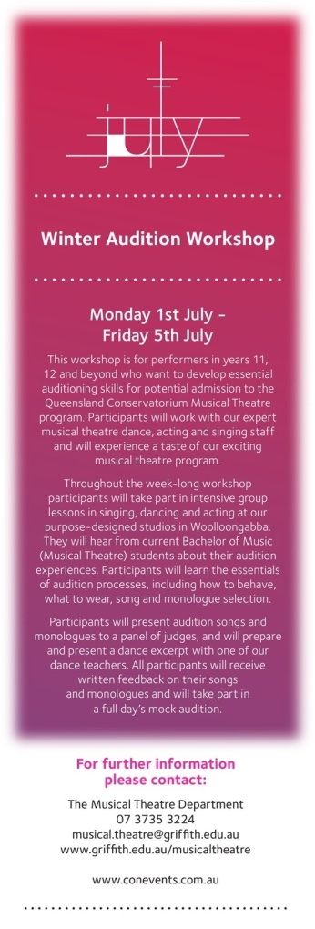 Winter Audition Workshop Flyer MT QCGU